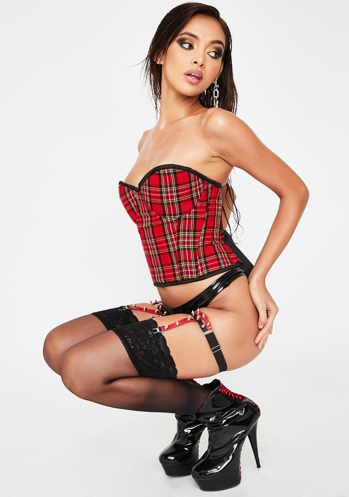 Daisy Corsets Red Plaid Underwire Bustier