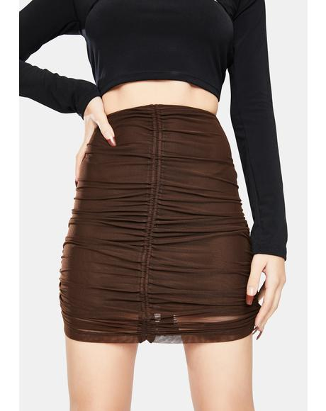 Chocolate Mesh Solena Ruched Mini Skirt
