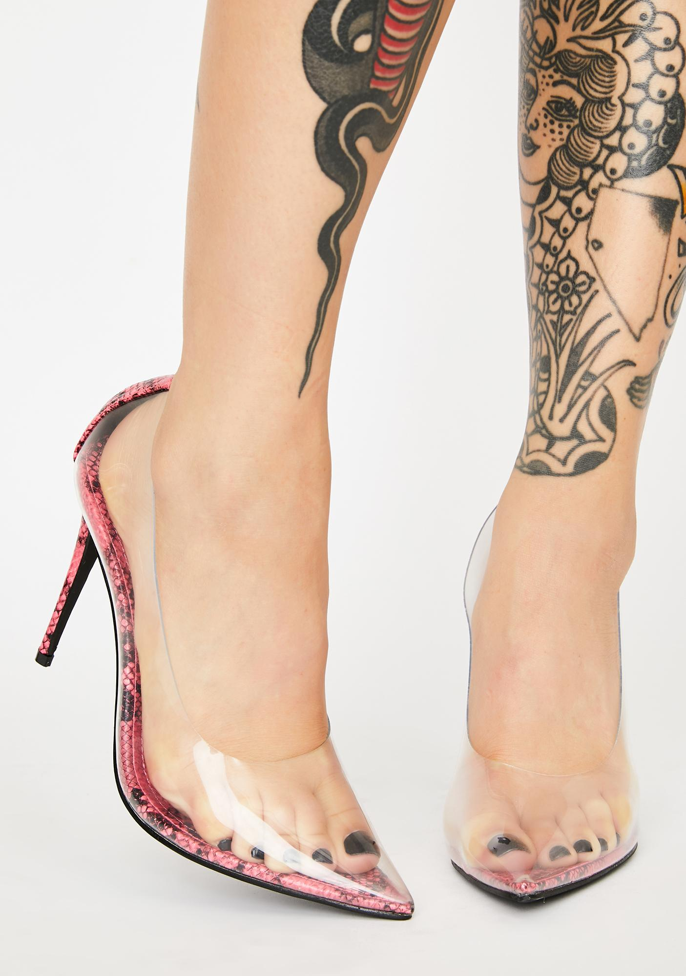 Clearly Feisty Snakeskin Pumps