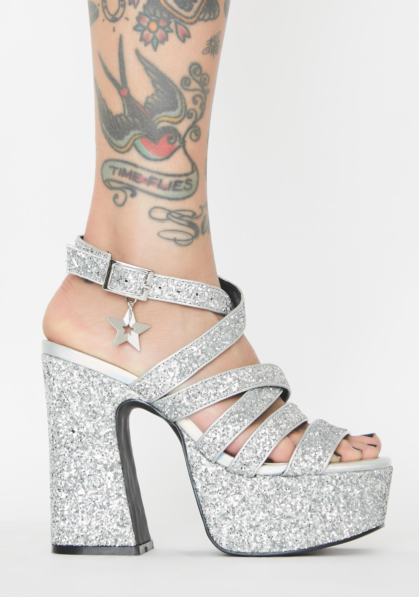dELiA*s by Dolls Kill Star Light Star Bright Platform Heels