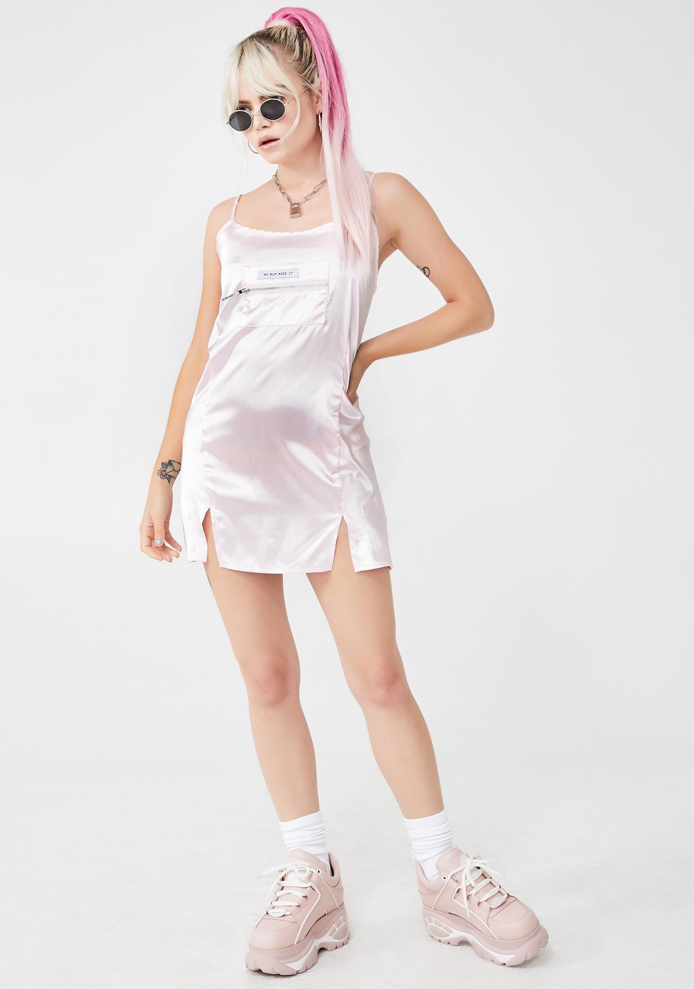 My Mum Made It Baby Satin Strap Slit Dress