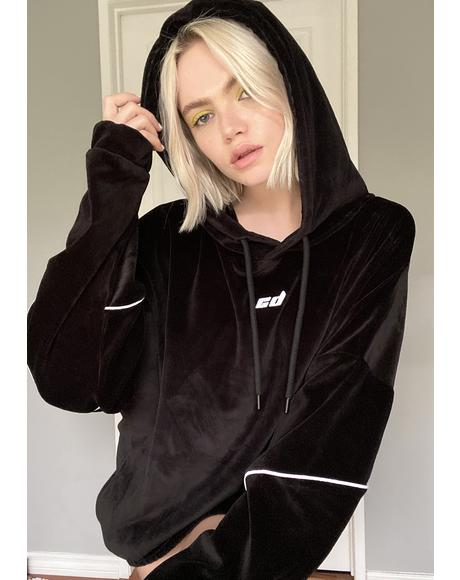 Black Velour Hoodie Sweatshirt