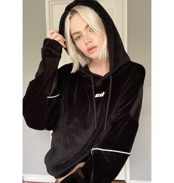 Criminal Damage Black Velour Hoodie Sweatshirt