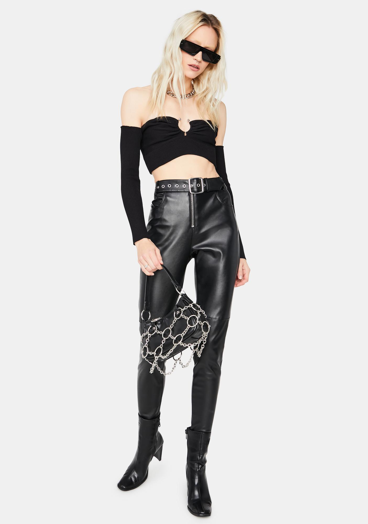 Noir Trust No One Off The Shoulder Crop Top