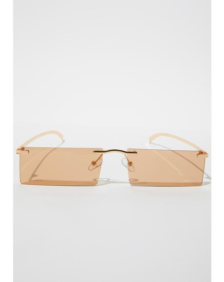 Crush Lil Bit Shady Frameless Rectangle Sunglasses