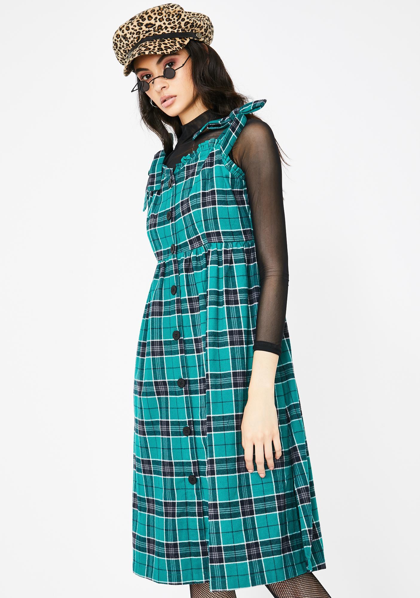 Lazy Oaf Green With Envy Plaid Midi Dress