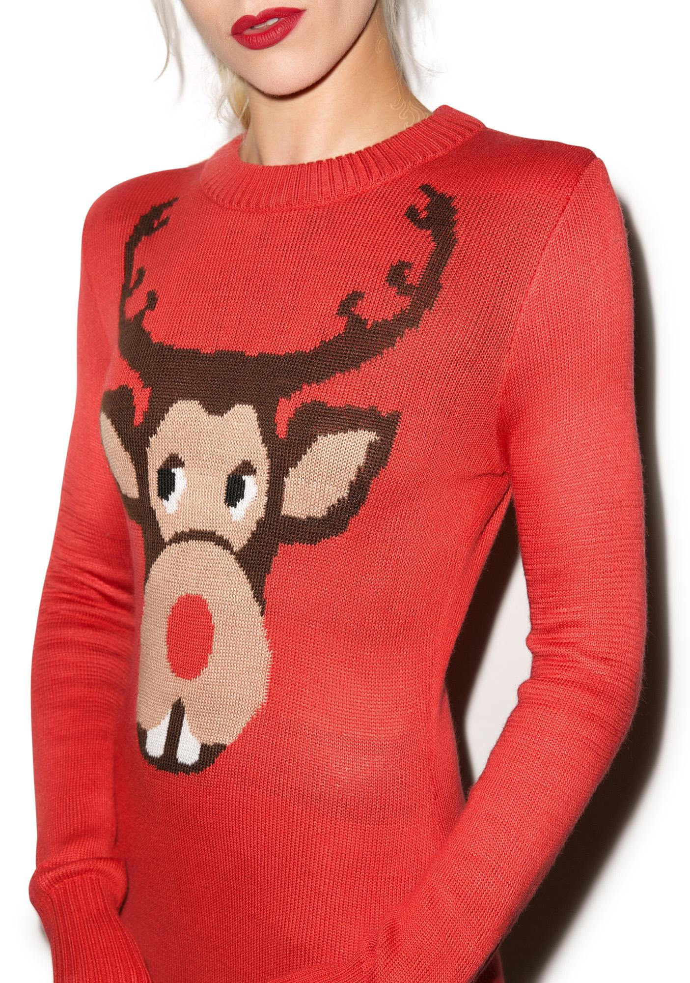 Tipsy Elves Buckin' Around Rudolph Sweater