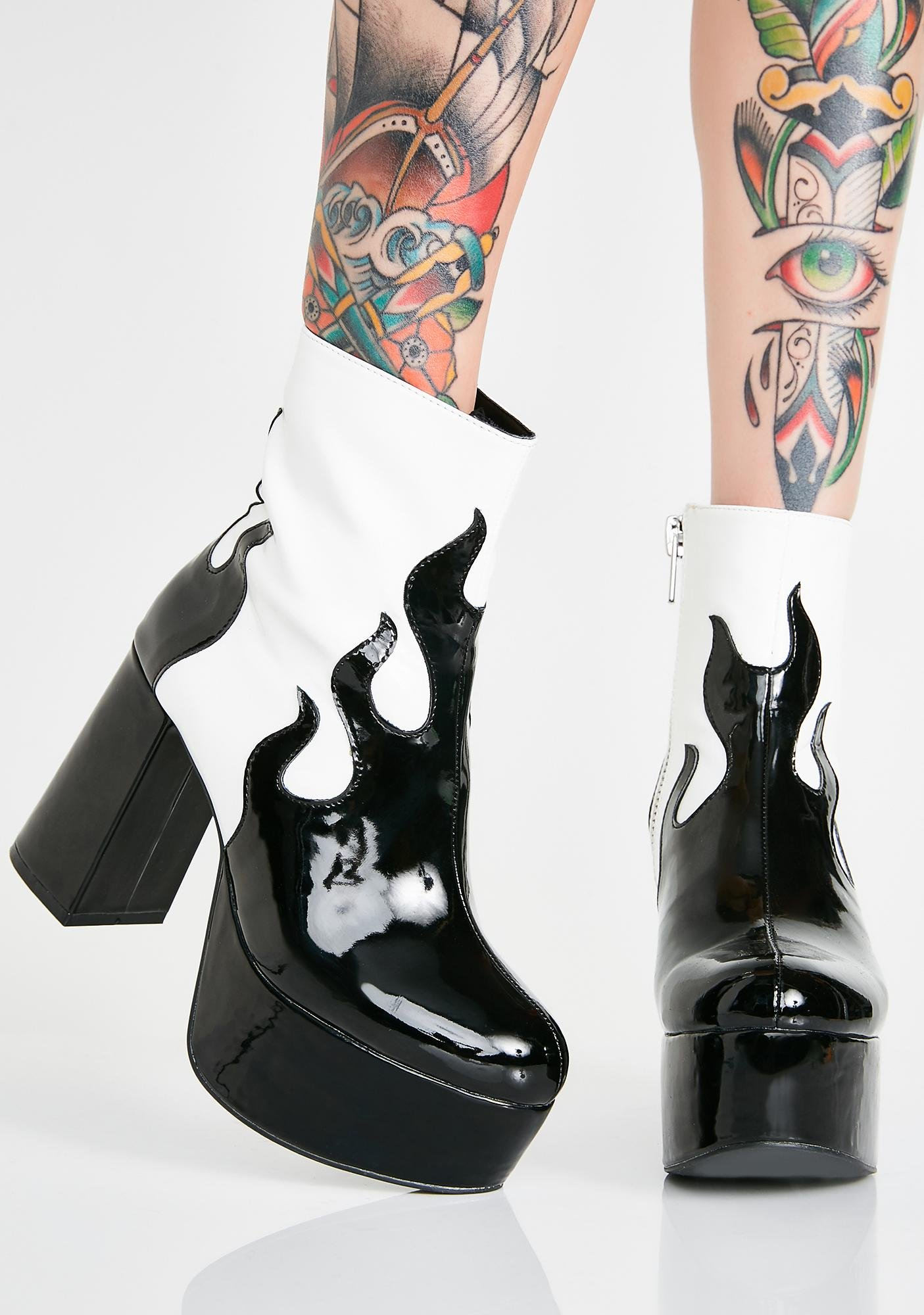 3966439c00d7 ... Current Mood Up In Flames Platform Booties