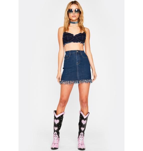 Chained To The Rhythm Denim Skirt