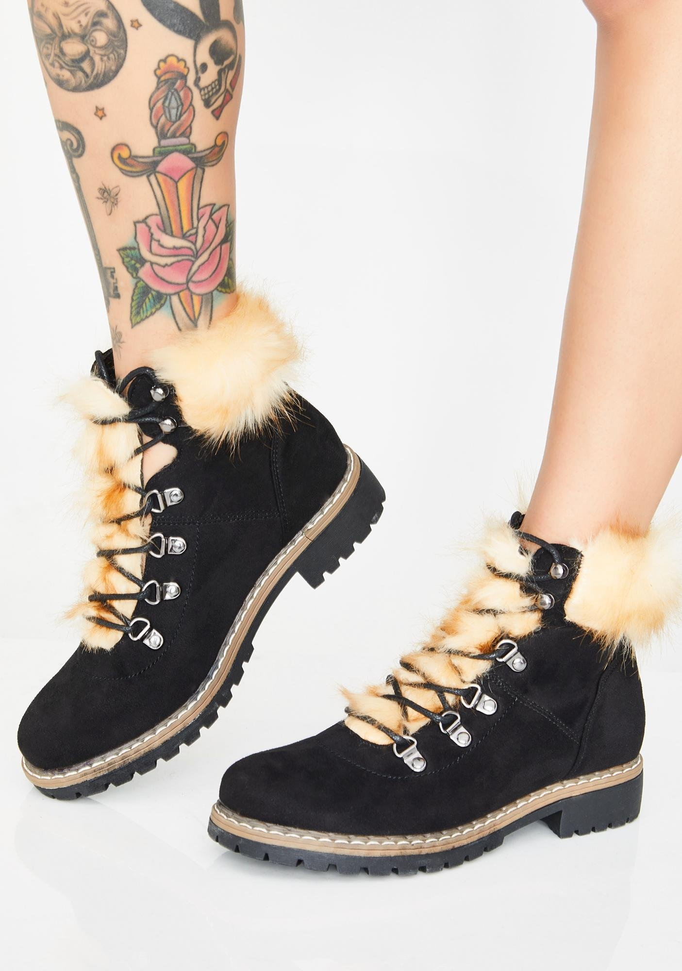 faux fur lace up booties