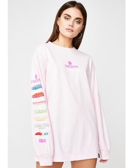 x Trojan Pleasure Pack Pink Long Sleeve Tee