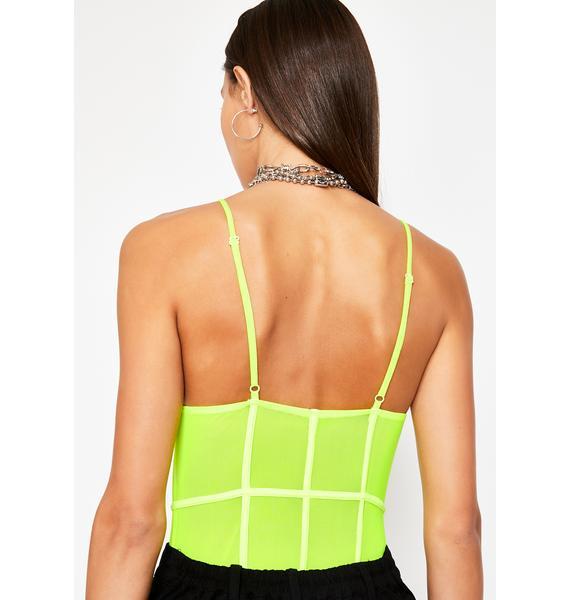 Lime Passionate Plea Sheer Bodysuit