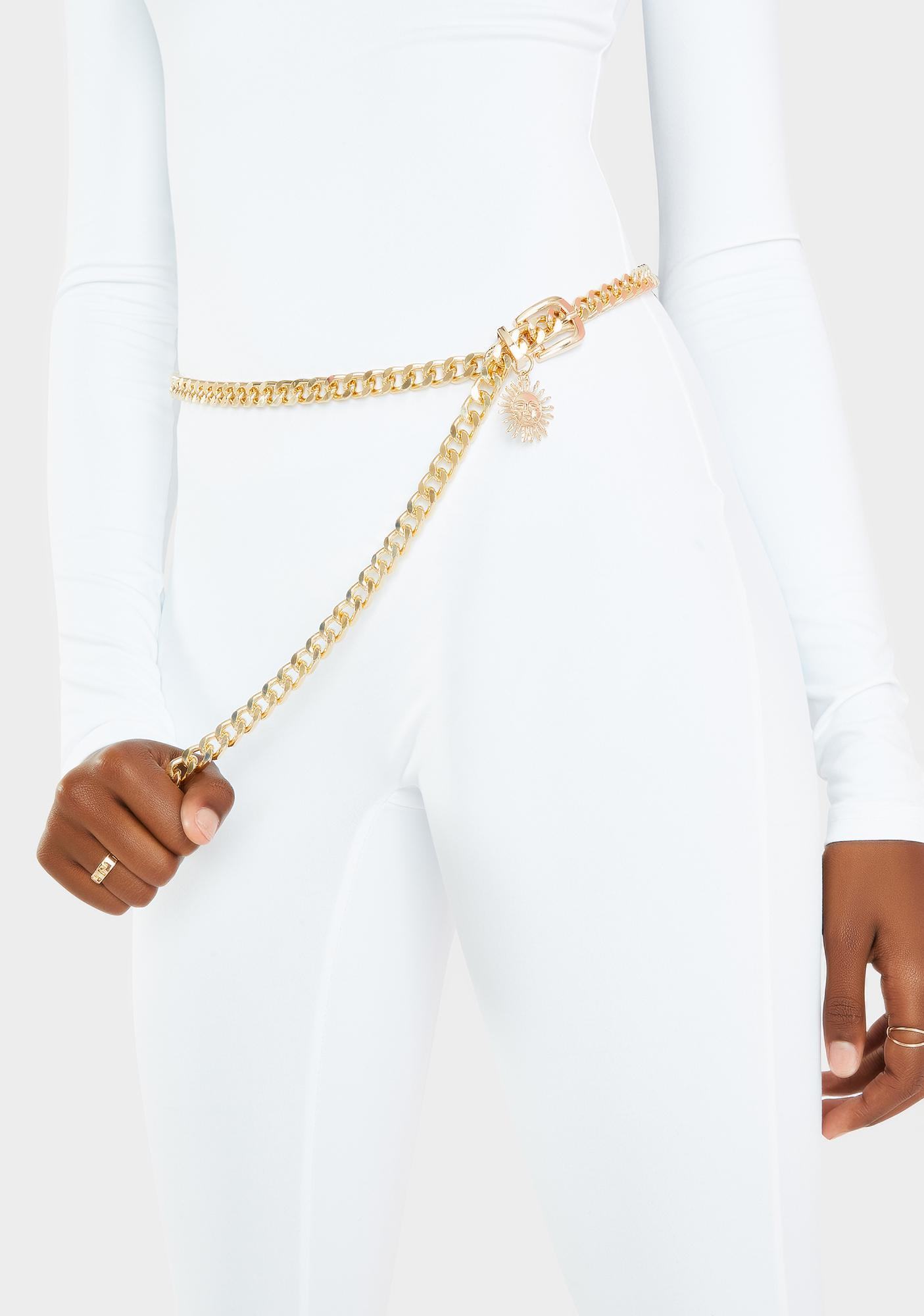 Yellow Golden Glam Chain Belt