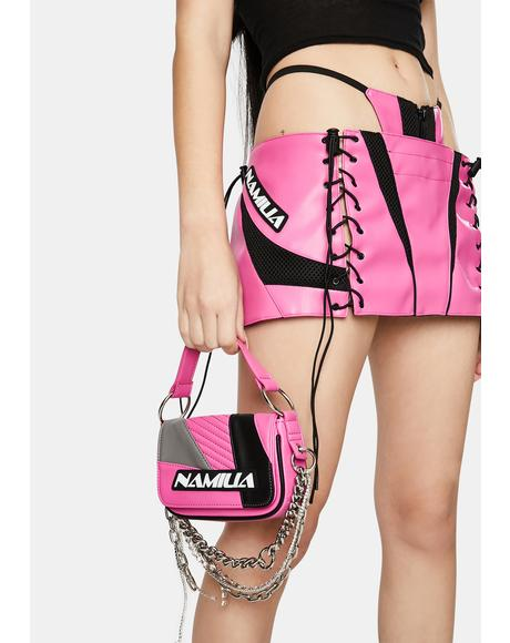 Pink Moto Crystal Chain Mini Bag