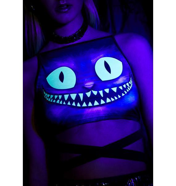 Club Exx Creepy Kitten Glow In The Dark Top