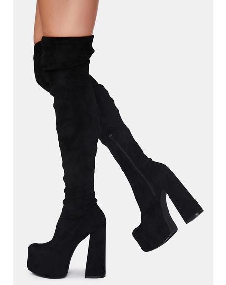 Black Suede Havasu Knee High Boots