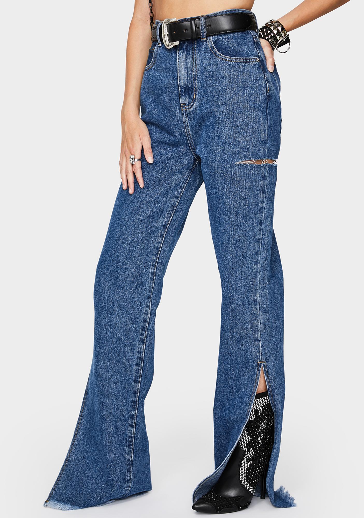 Momokrom Mid Blue Wide Leg Split Hem Jeans