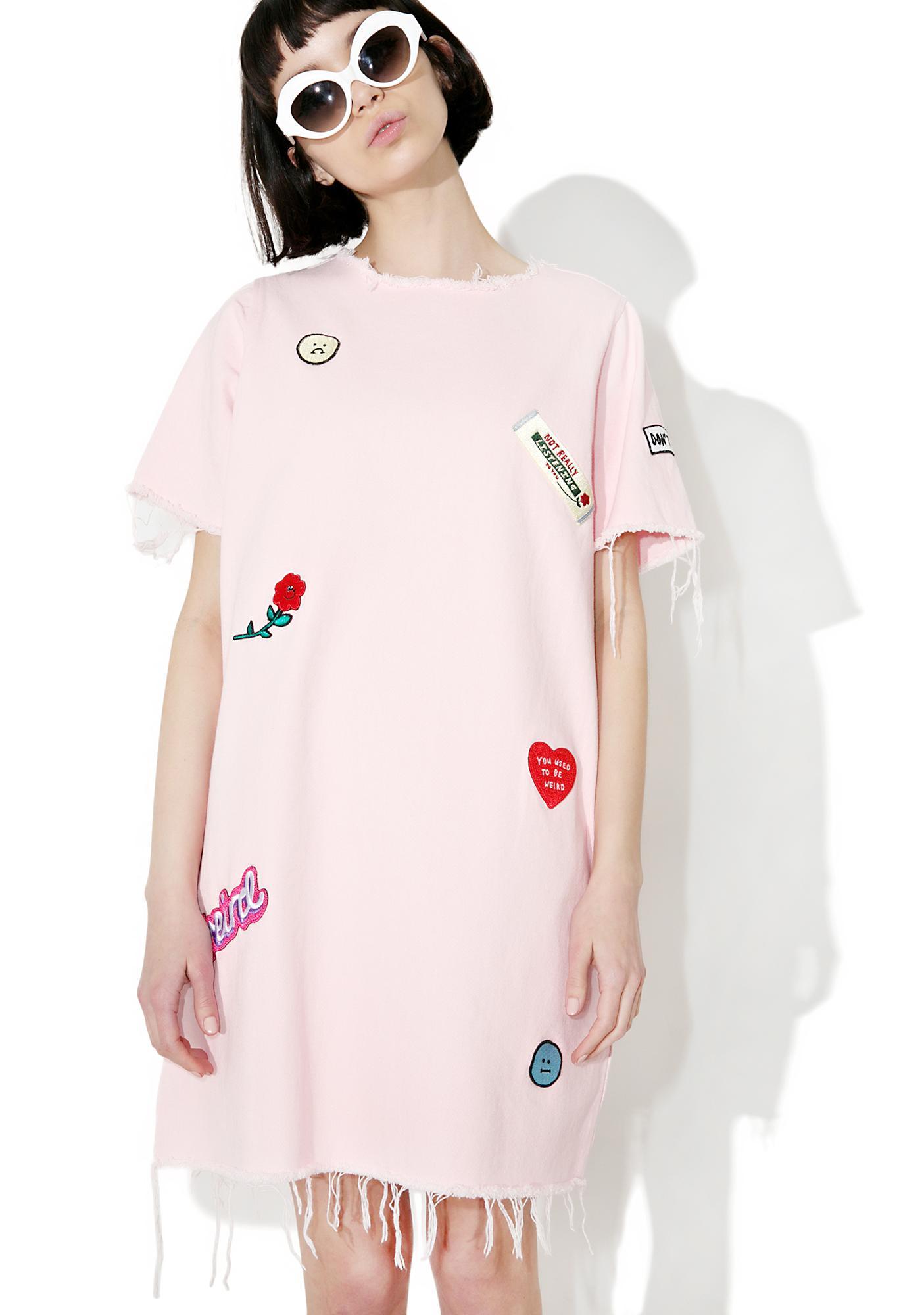 Lazy Oaf Denim Patch Tunic Dress