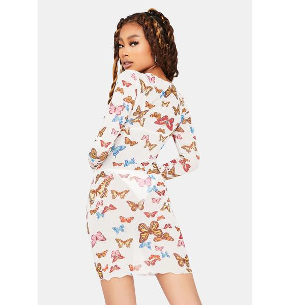 Return To Flight Butterfly Print Dress
