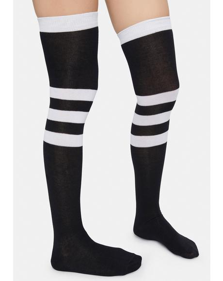 Scoring High Stripe Knee High Socks