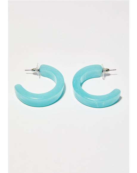 Celestial Luv Stoned Hoop Earrings