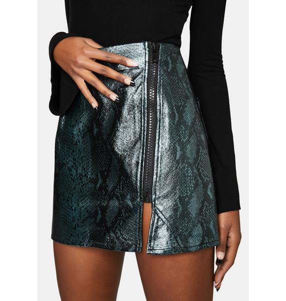 Punk Rave Snake Print Faux Leather Mini Skirt