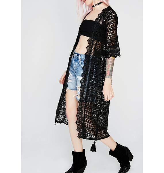 Night Beat Wave Crochet Kimono