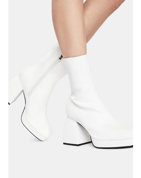 White Imagine Chunky Heel Ankle Boots