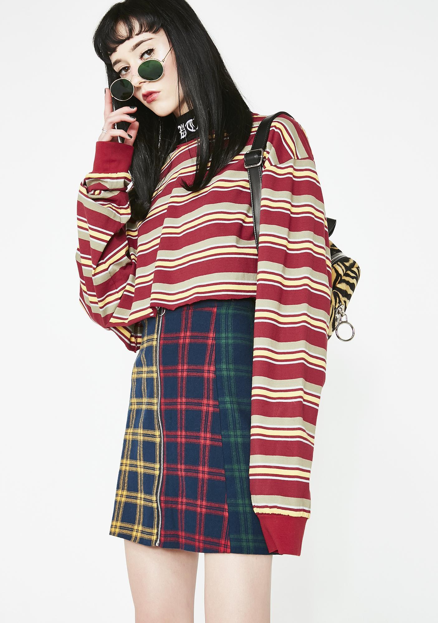 Lazy Oaf Check Panel Skirt
