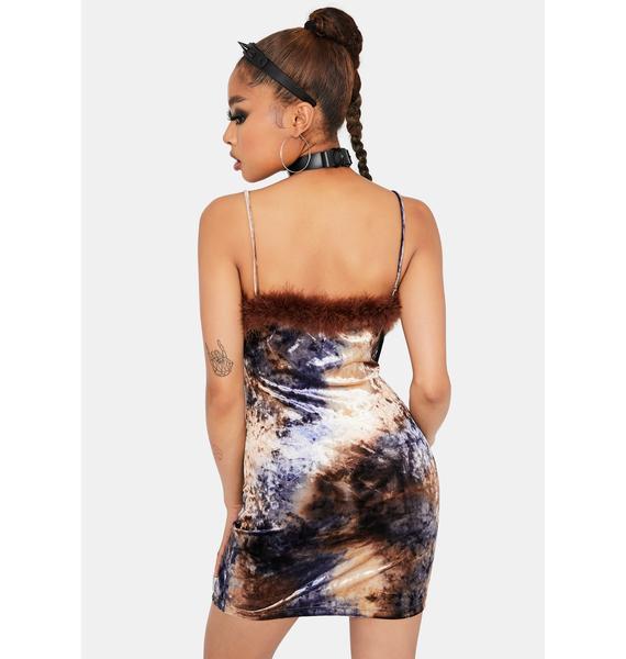 Gotta Be Extra Marabou Trim Velvet Dress