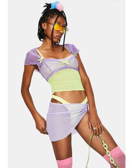 Lavender Portrait Mode Lace Top