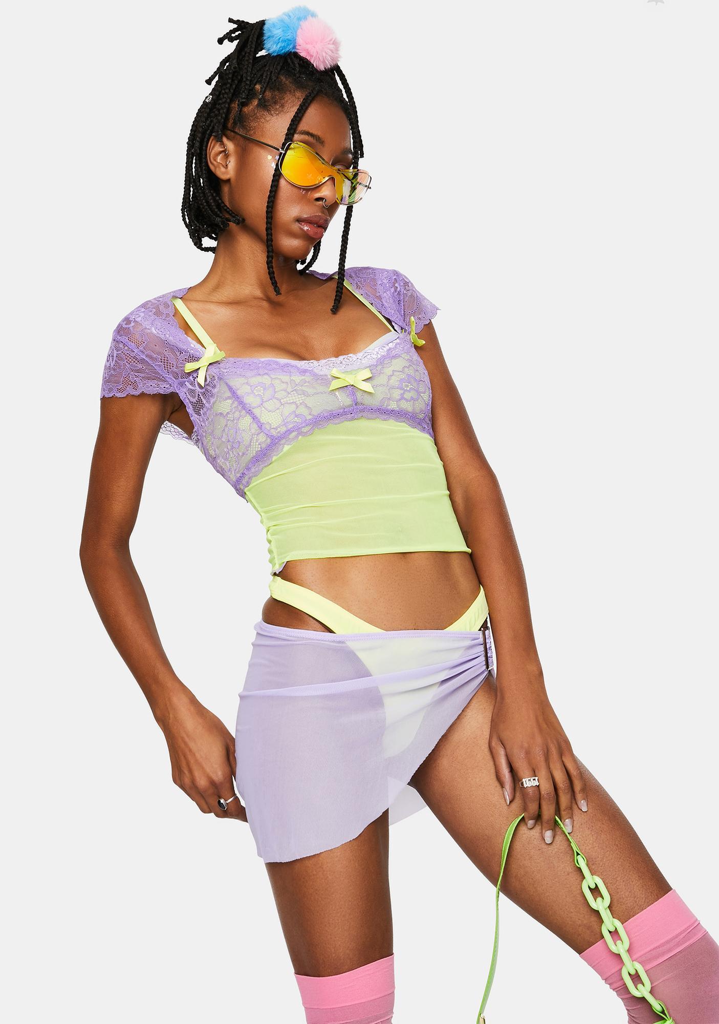Sugar Thrillz Lavender Portrait Mode Lace Top