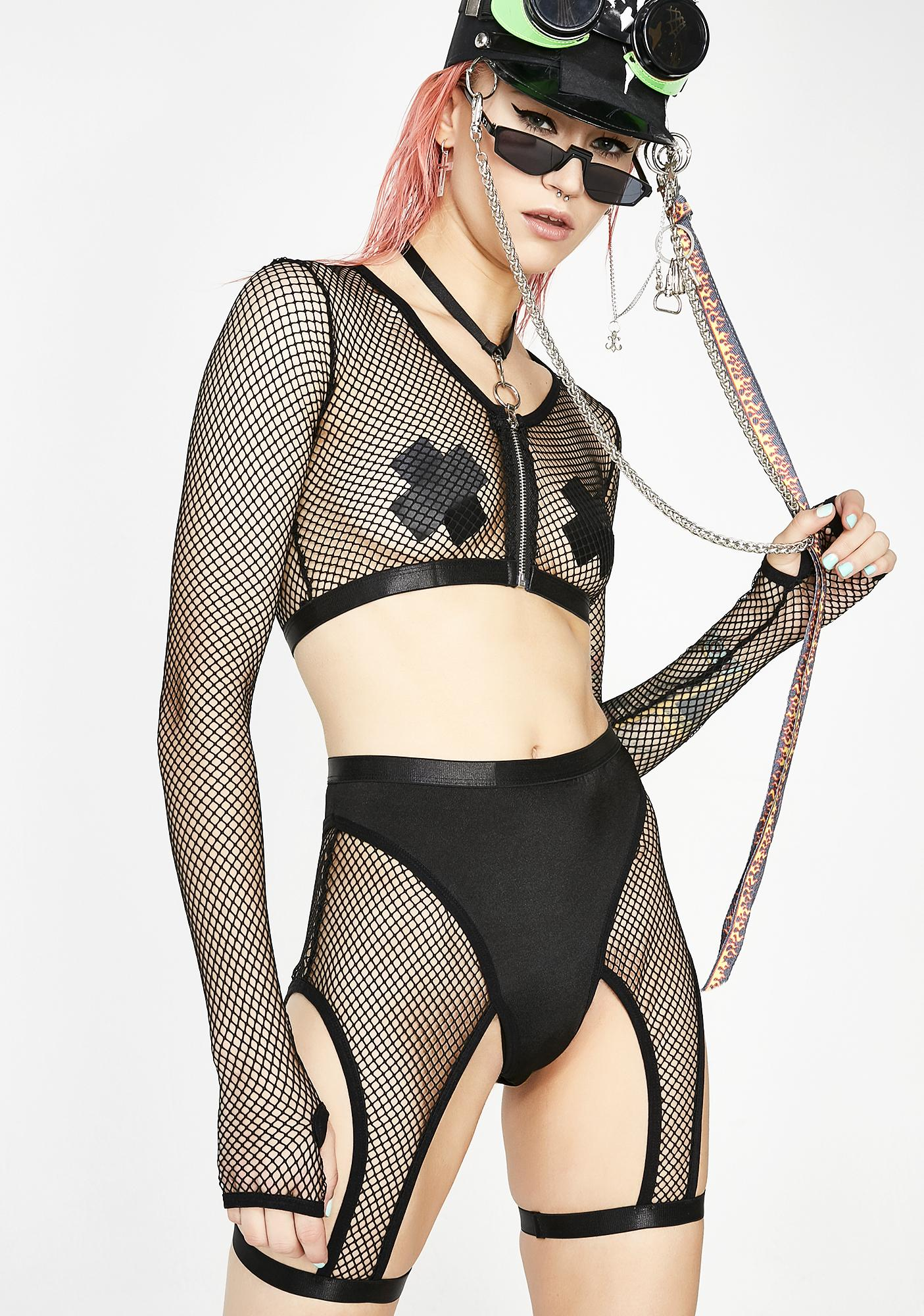 Club Exx Fast Tempo Fishnet Top