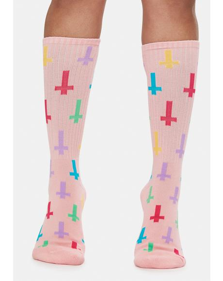 Crosses Print Crew Socks