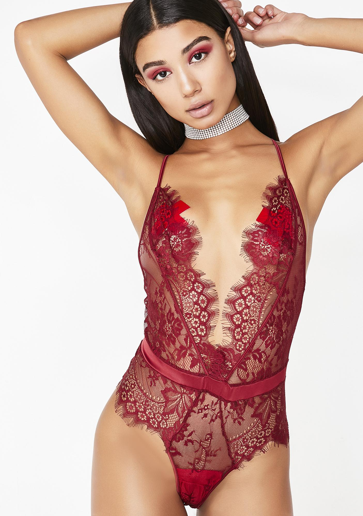 b84a614cbe5533 Holiday Lace Bodysuit Red