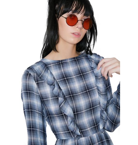 Glamorous Check Please Ruffle Dress