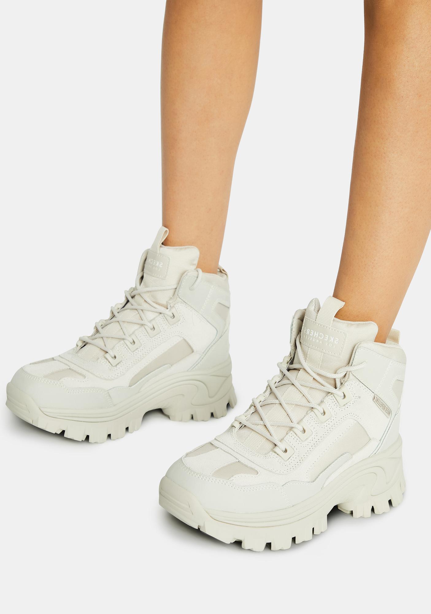 Skechers White Street Blox Block Gawkers Sneakers