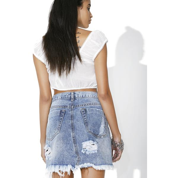 Glamorous Rattled Distressed Denim Skirt