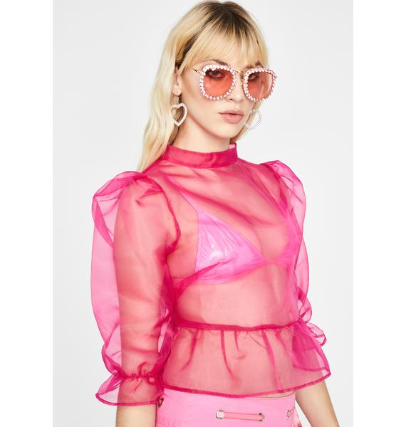 Sweet Blurred Lines Organza Blouse