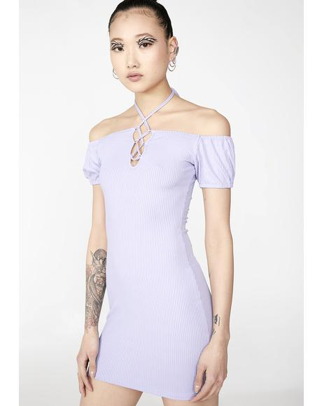 Lavender Love Bait Lace-Up Dress