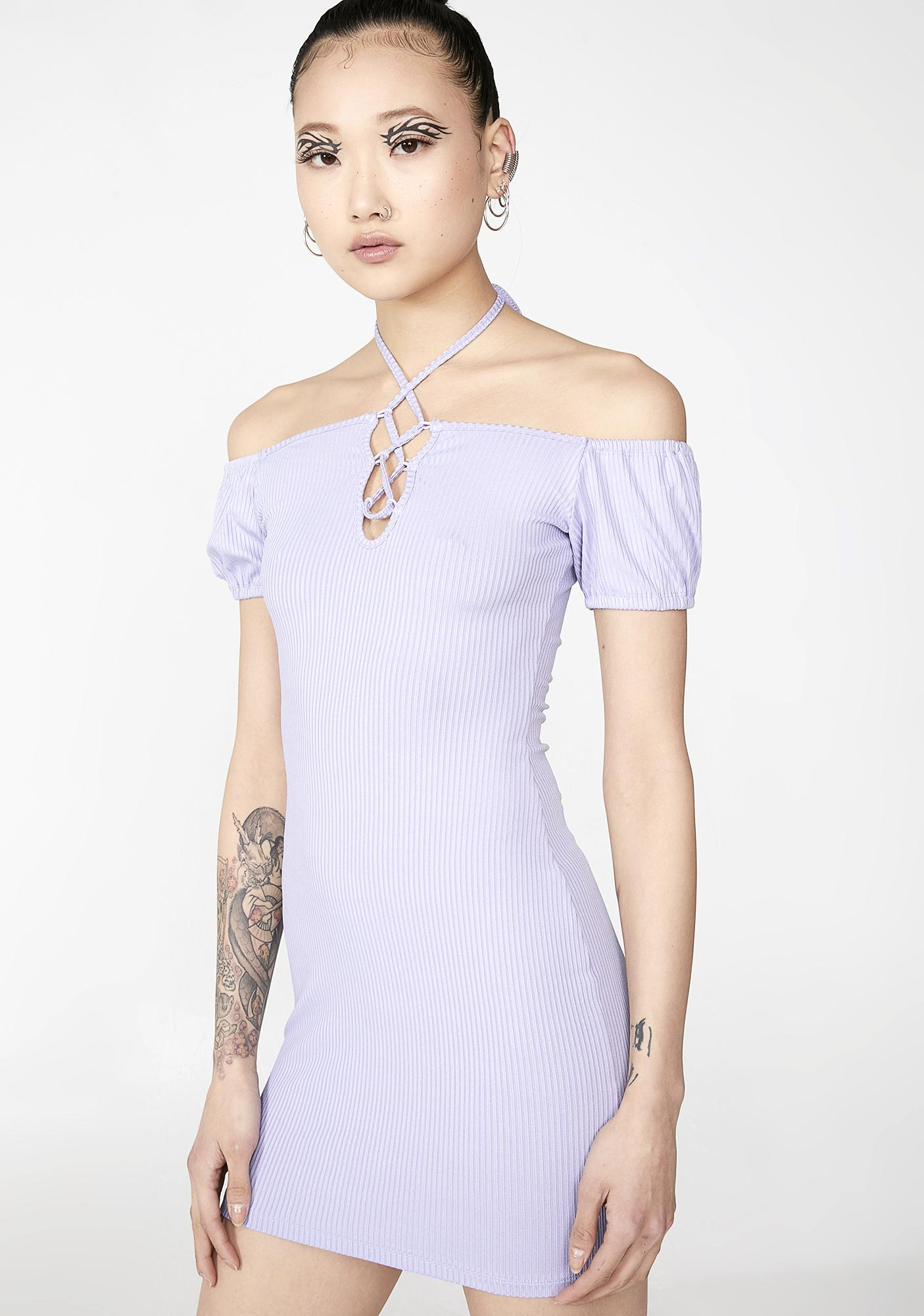 19411ead26fe Light Purple Lace-Up Ribbed Off Shoulder Bodycon Mini Dress | Dolls Kill