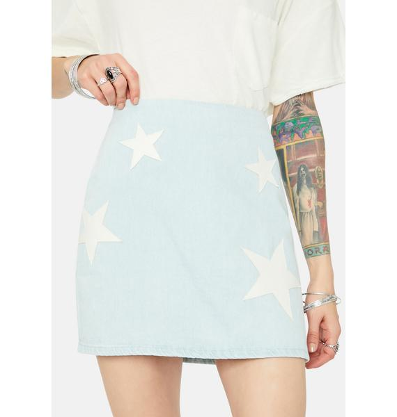 Road Less Traveled Star Patch Jean Skirt