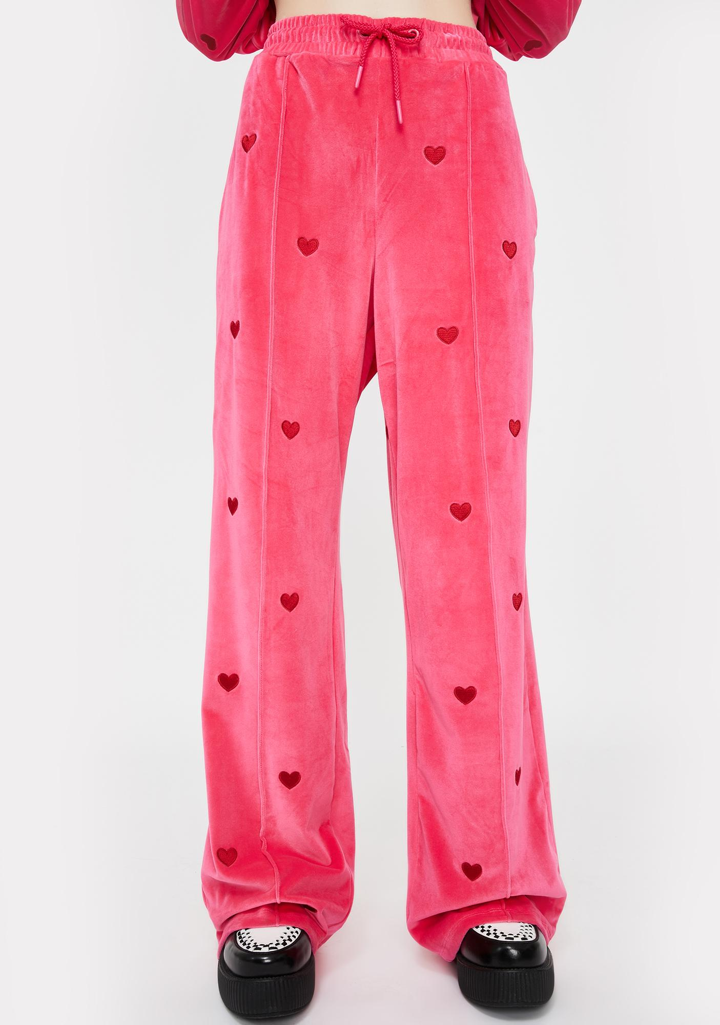 Lazy Oaf Velour Love Repeat Track Pants