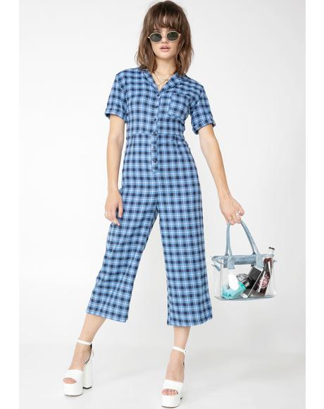 Check Print Button Up Jumpsuit