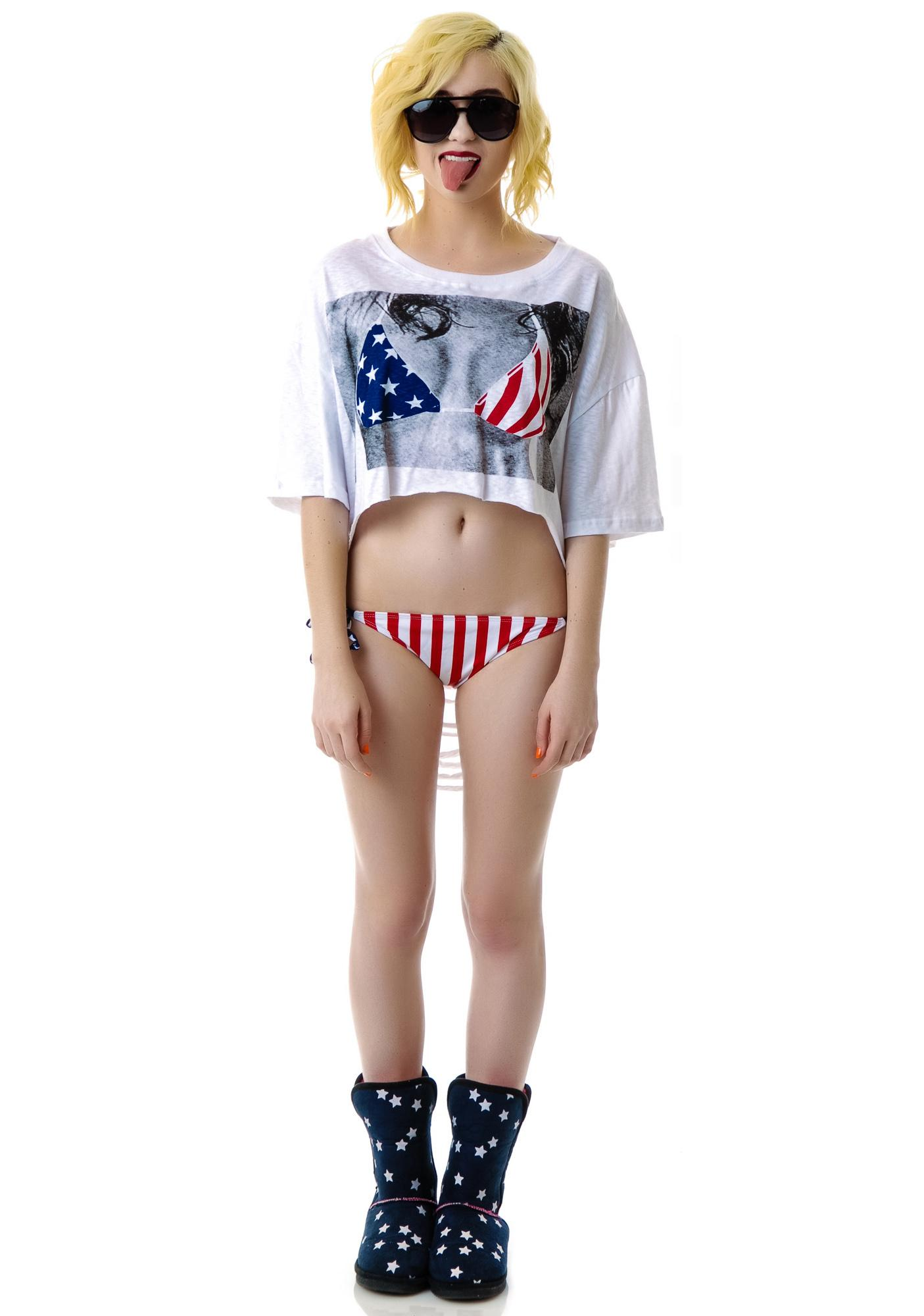 USA Shredded Bikini Shirt