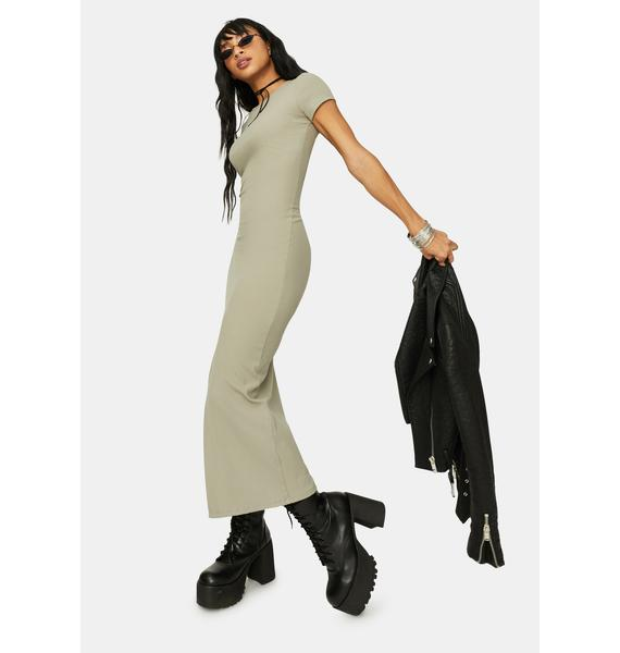 Olive More Or Less Ribbed Maxi Dress