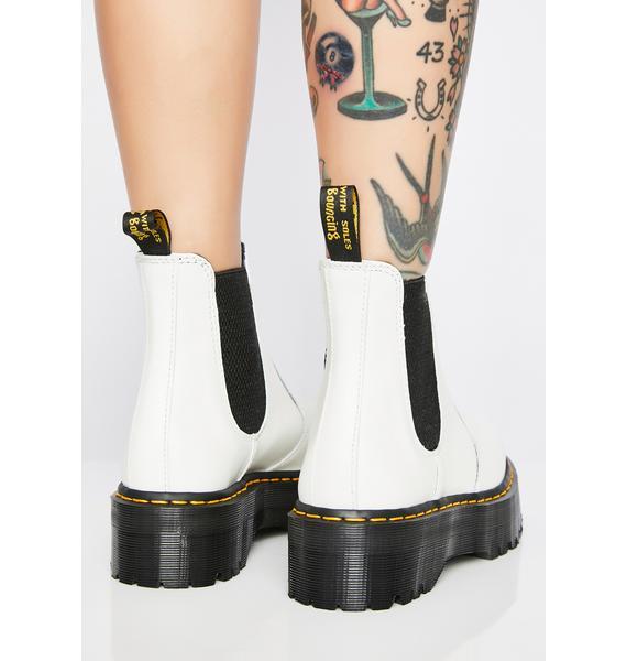 Dr. Martens 2976 White Chelsea Quad Boots