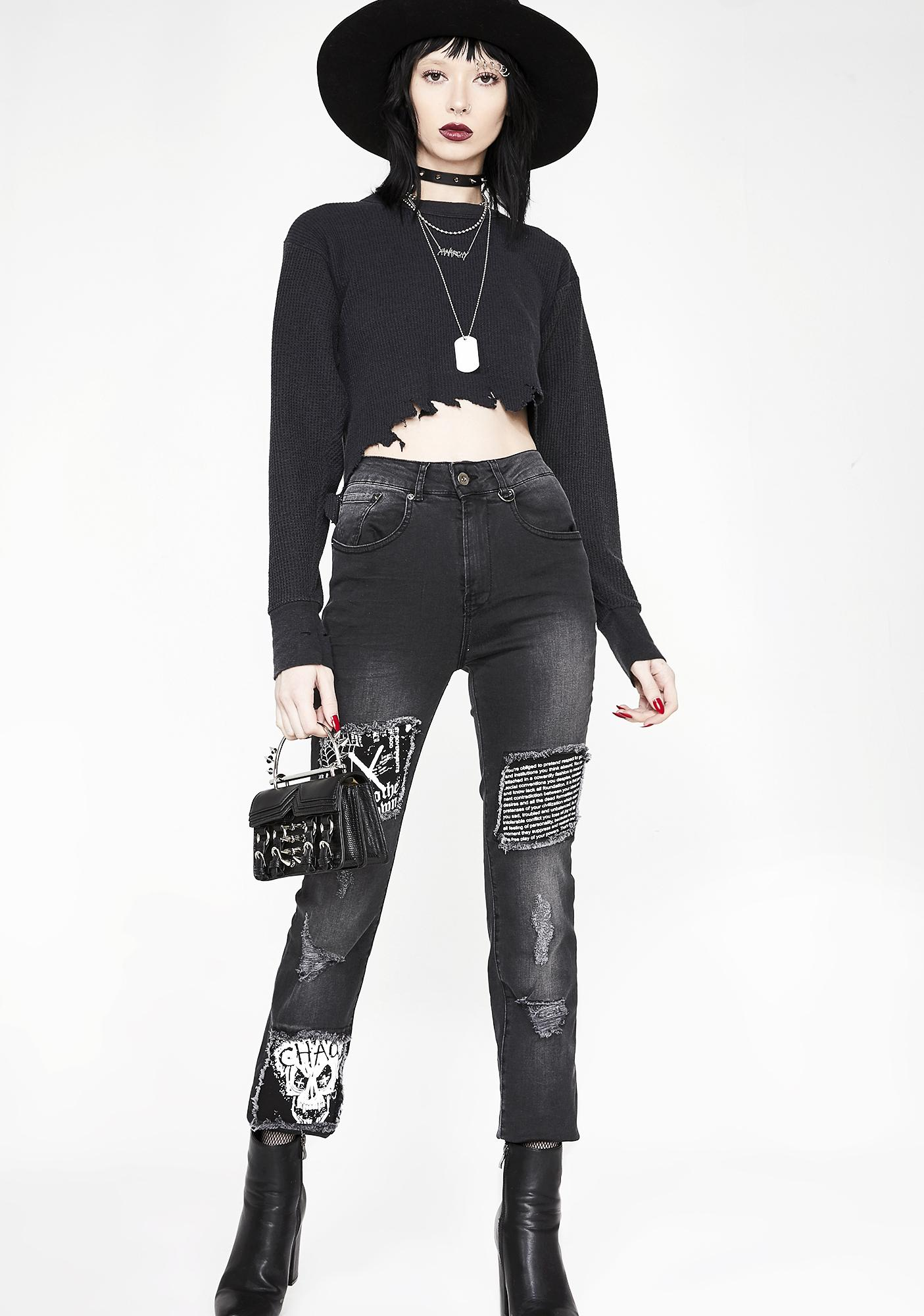 Disturbia Chaos Patched Jeans