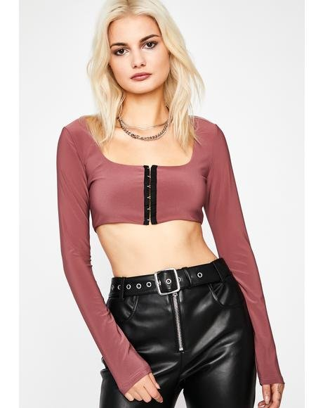 Mauve Stay Hooked Crop Top