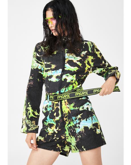 Tie Dye Print Denim Short Boilersuit